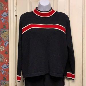 St John black/red/cream knit sweater size large